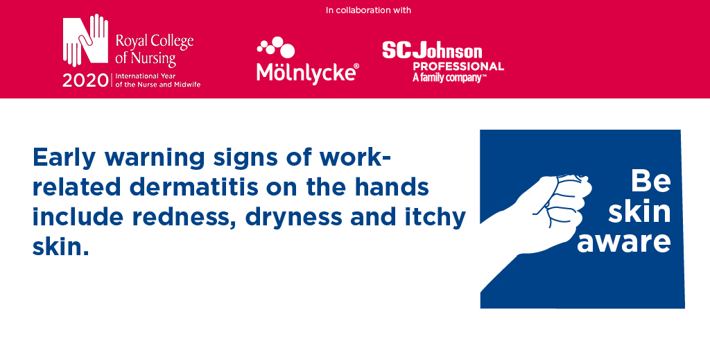 Do you know the early warning signs of work-related dermatitis? Download our poster (produced in collaboration with @molnlyckeUK and @SCJProfessional) for your workplace so you and your colleagues can protect against it. #COVID19 rcn.org.uk/professional-d…