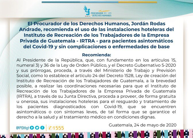 test Twitter Media - El @PDHgt recomienda al presidente Alejandro Giammattei utilizar los hostales del Irtra para atender a pacientes COVID-19. https://t.co/ABDiaQx5Dj