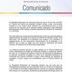 Image for the Tweet beginning: #COMUNICADO | Venezuela denuncia venta