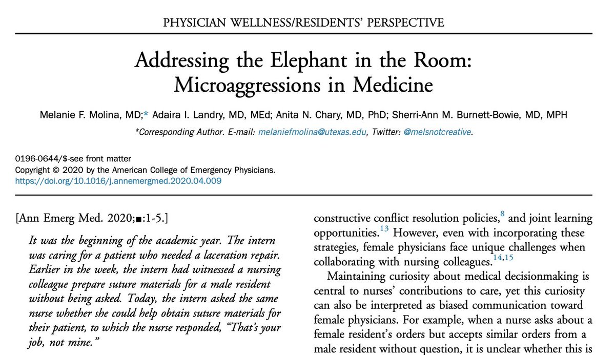 We are excited to share our article about microaggressions published in Annals of Emergency Medicine. It was written by us, 4 women of color physicians who practice in academics. We would love to comment on this article, a prized accomplishment in our professional lives.  1/ <br>http://pic.twitter.com/XpX12LyTT1