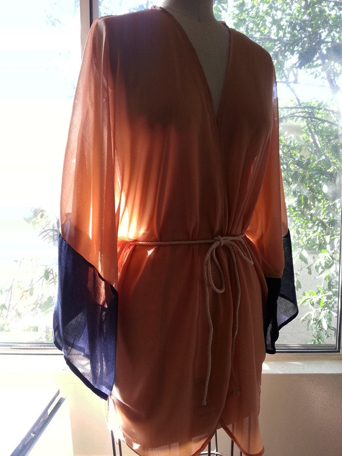 Brown Kimono Georgette Swimsuit Cover Up Color Block Beige and Navy Handmade Caftan http://tuppu.net/a81d6199 #Etsy #kimono #SwimsuitCoverUppic.twitter.com/ipLnTVol0e