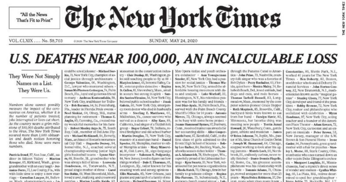 Sunday's New York Times lists names of 1,000 victims of COVID-19 buff.ly/2AYwwPh