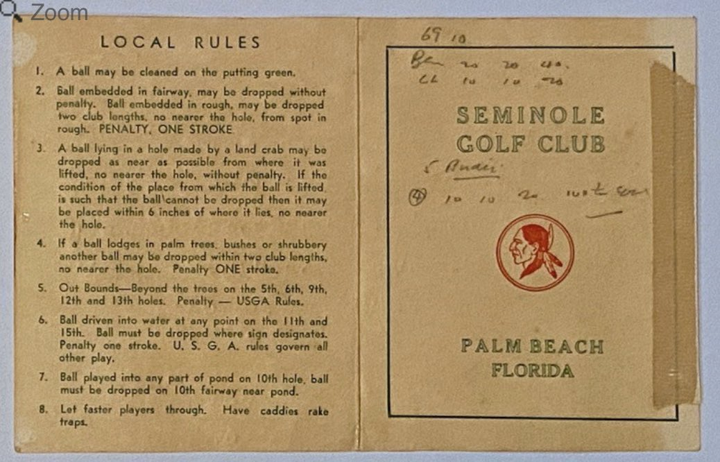 The crazy memorabilia world continues to generate outrageous bids. Last night, this low score scorecard by Ben Hogan at Seminole sold for $33,715.   The estimate by auctioneer @GoldenAgeBid was $3,000 to $4,000. https://t.co/Mws3Wmj141