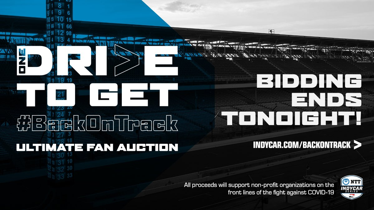Last day for bids at @IndyCar's #BackOnTrack charity auction benefiting first responders! Bid to win a number of experiences including one at Long Beach! Indycar.com/backontrack #AGPLB