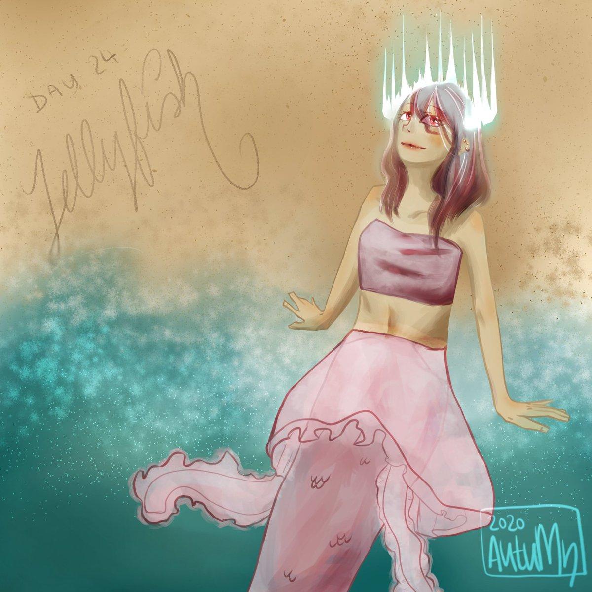 Day 24: jellyfish. Colours are hard pt 2. Nevermind trying to make backgrounds in detail yet... #illustrationartists #drawing #anime #만화 #manga #mermay #漫画 #myartwork #doodle #dailydoodle #digitaldoodle #digitalillustration #artoftheday #落書き #イラスト #animemangapic.twitter.com/JgEddMWZRB