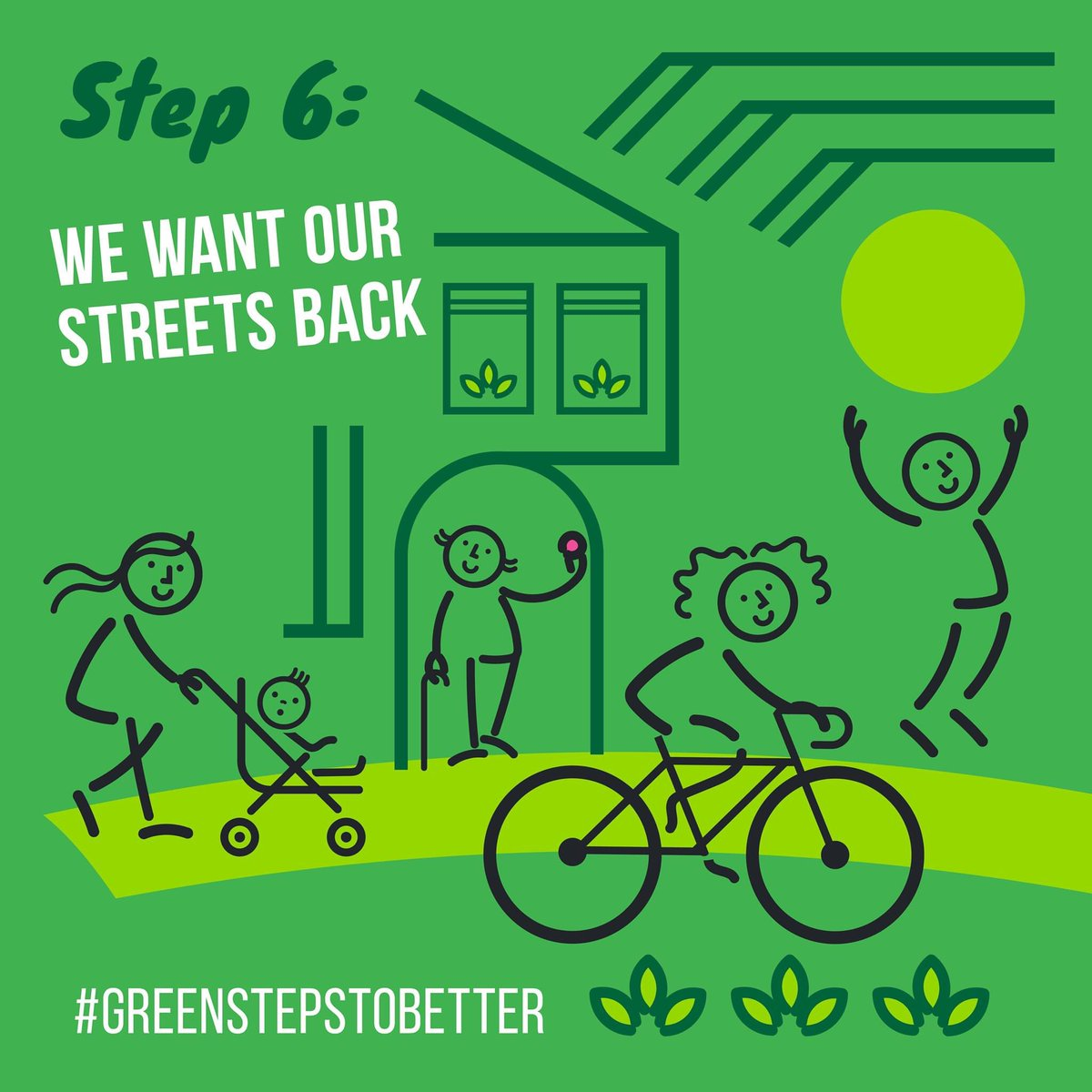 Whats that sound? Quiet? Birdsong? More time at home and less on the road means were all enjoying life without the noise, pollution and collisions. @Carolinelucas #greenstepstobetter 💚🌍 STEP 6: SAFER STREETS AND CLEANER AIR: reclaiming our streets for cycling and walking.