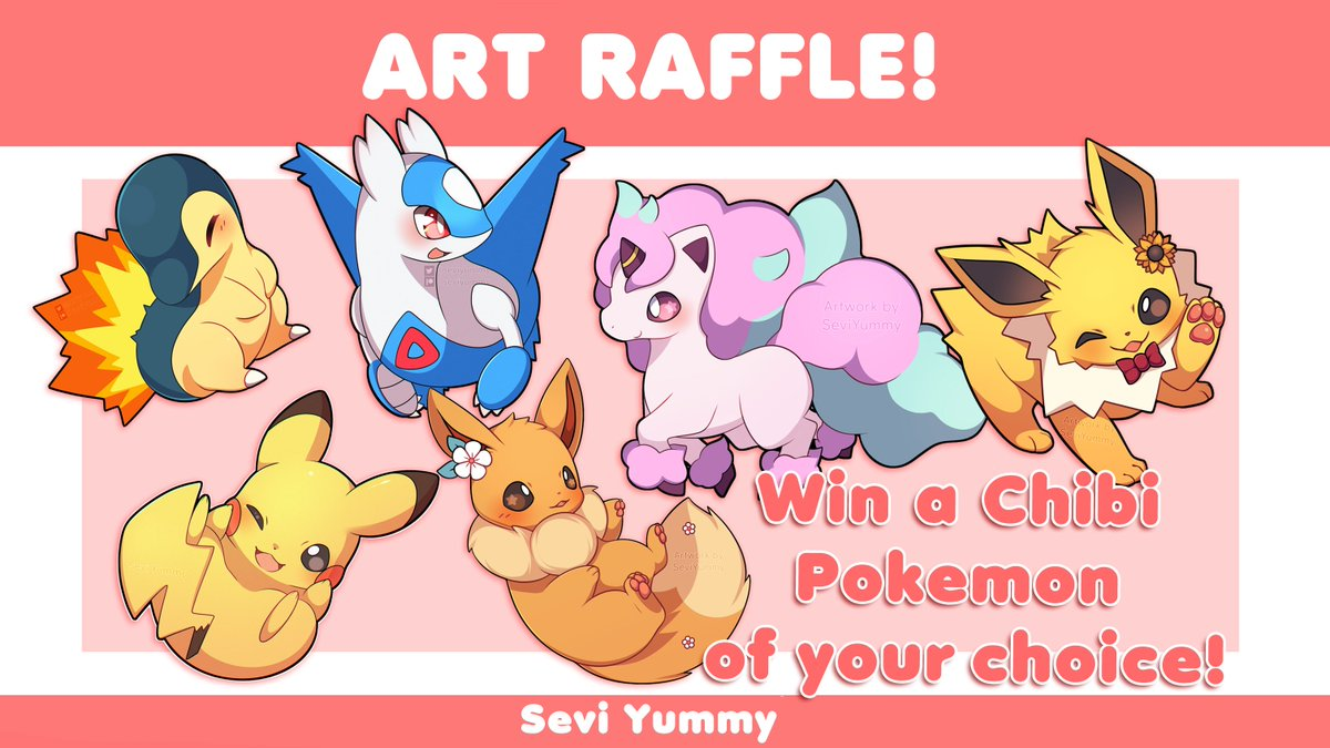Art Raffle!  Hello everyone! Raffle time! You can win a chibi pokemon of your choice! ☆ ~('▽^人)  RT + follow to enter Raffle ends on May 30  Thank you and good luck! <br>http://pic.twitter.com/K6IENCInGF