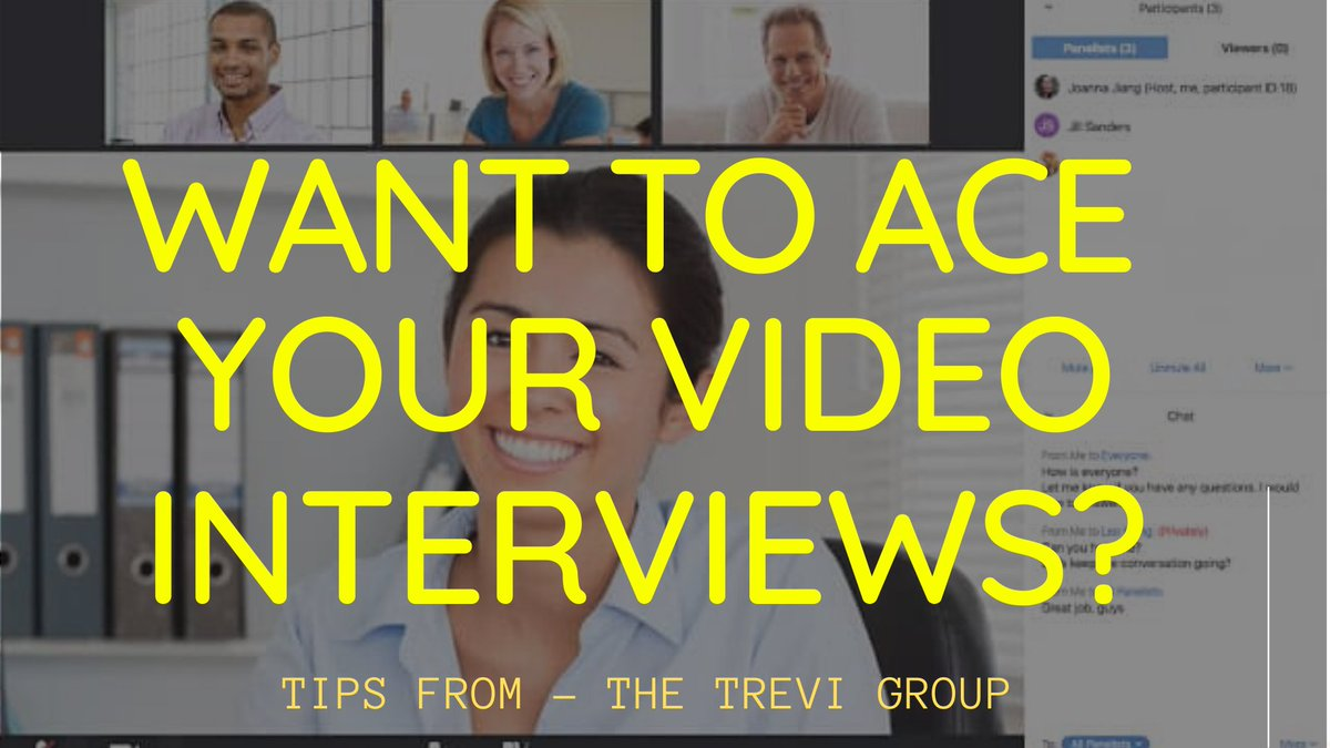 Want to ACE your Video Interviews?  Here are great tips -- https://www.thetrevigroup.com/new-blog/2020/3/27/tips-on-video-interviews …  #videointerview #thetrevigroup #zoommeetings #videointerviewing pic.twitter.com/bLYJ7IV7pE