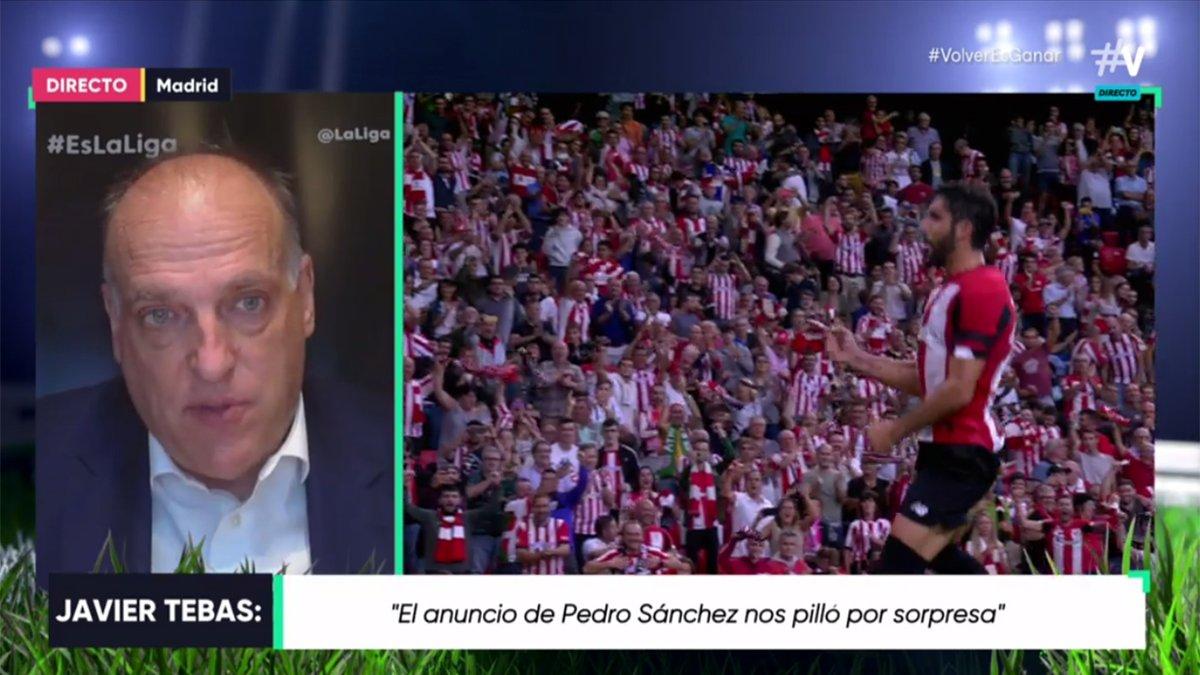 """.@Tebasjavier en 'El Partidazo de Movistar':   """"Sería nuestra ilusión volver el jueves 11 con un partido. Ojalá sea ese día. Nos gustaría que ese partido fuera el Sevilla - Betis"""".  #VolverEsGanar https://t.co/7UsbPKLsqE"""