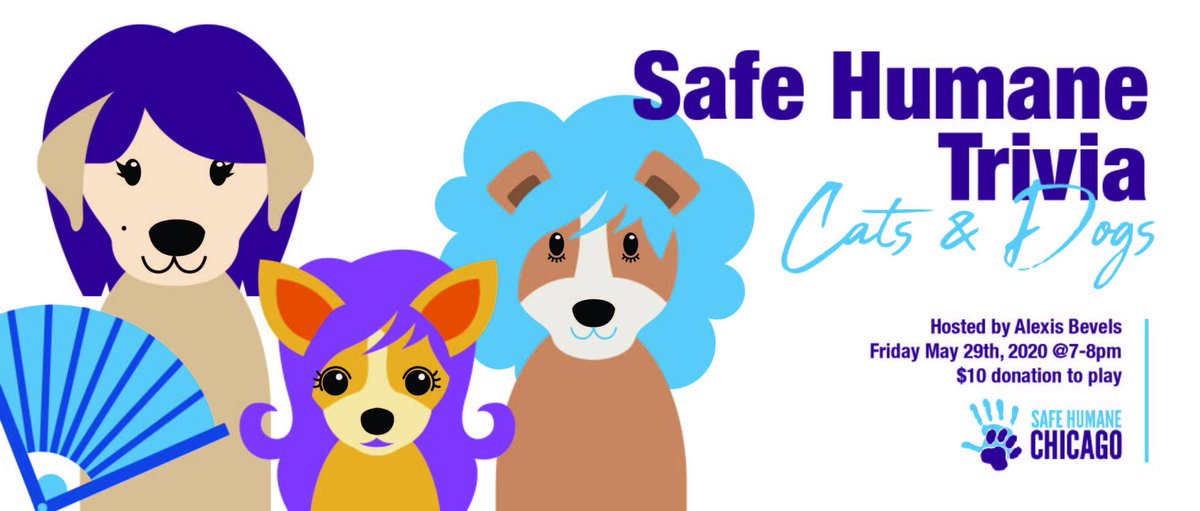 Hey #Chicago! .@SafeHumane #Trivia: #Cats and #dogs   #virtual #fundraiser   Friday 5/29, 7 – 8 PM  #ClearTheShelters #AdoptDontShop #AdoptDontBuy #AdoptAShelterPet #adoptaseniorpet  https://www.facebook.com/events/665940717286735/…pic.twitter.com/6xJcRwnJgW