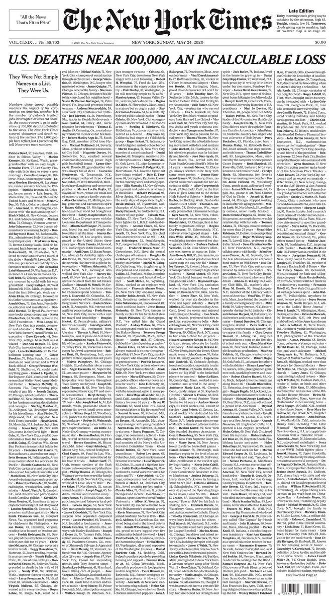 Izugarria gaurko NY Times-eko azala.  Hildakoei aurpegia jartzen diegunean... https://t.co/iMKfozFPn7