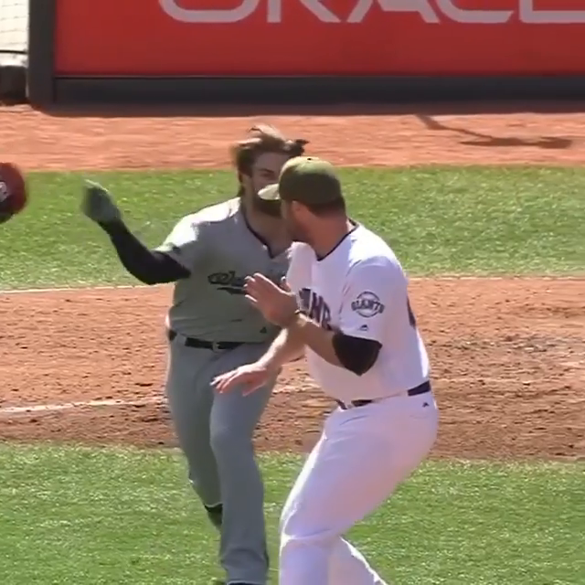 Never forget when Bryce Harper charged the mound after being hit by Hunter Strickland's pitch 😳