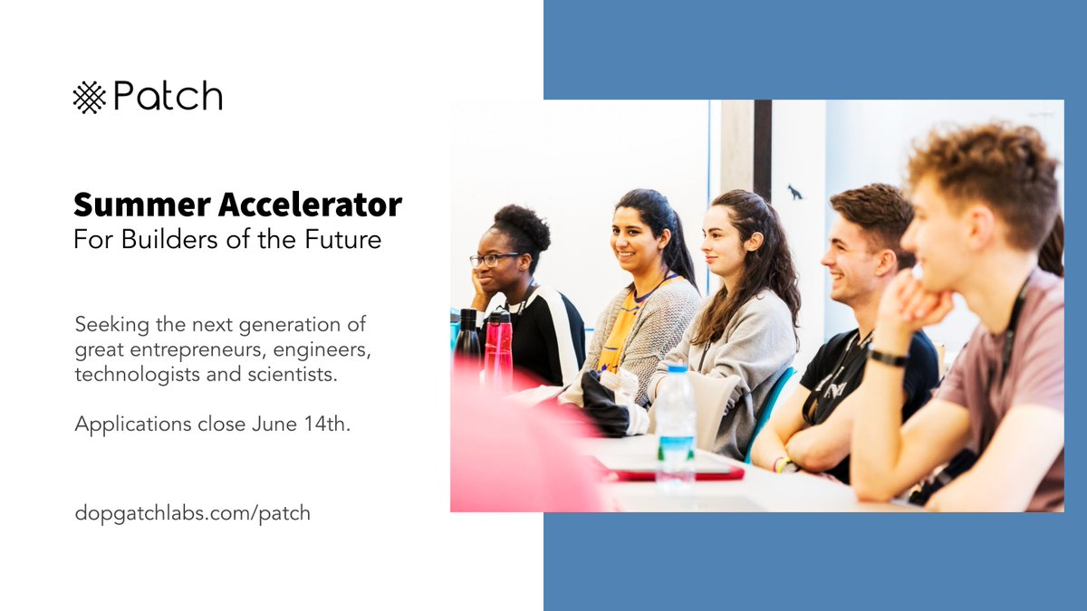 Are you a young & budding entrepreneur, ready to accelerate your startup this summer? Apply to Patch to get 1:1 advice & talks from world-class founders like @NikkiMcClaff, @LizMacKerry, @DesTraynor, @RayNolan & @danielgross. More info: dogpatchlabs.com/patch