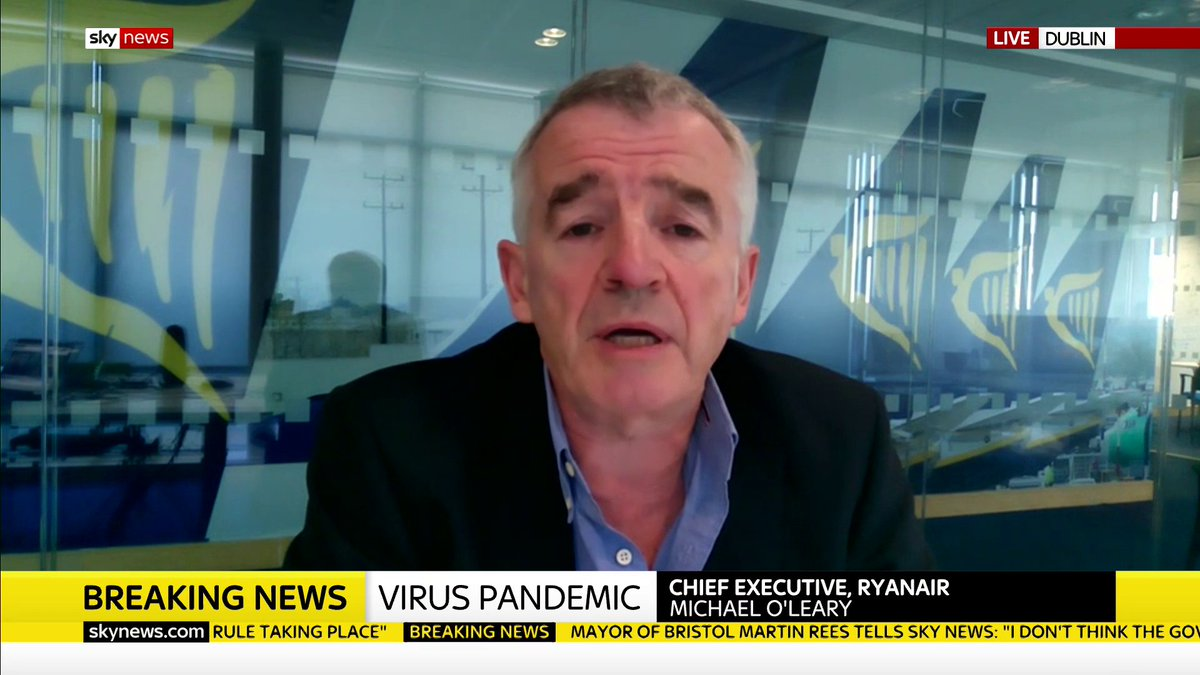 Ryanair chief exec Michael OLeary says the government is implementing a completely ineffective useless quarantine which he says will devastate thousands of jobs in British tourism #KayBurley Read more on quarantine rules: trib.al/y1HJtWf