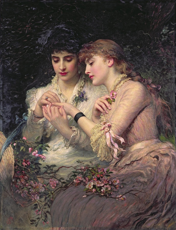 """A Thorn Amidst the Roses"" James Sant (1820–1916) was a British painter specialising in portraits and known particularly for images of women and children and artistic exploration of the symbolism of childhood."