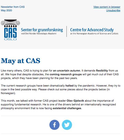 Filosofiprofessor Olav Gjelsvik mener finansieringskilder i for stor grad vektlegger forskningens kortsiktige nytte. – Det gjør institusjoner som CAS enda viktigere, sier han i vårt nyhetsbrev. Abonner her: