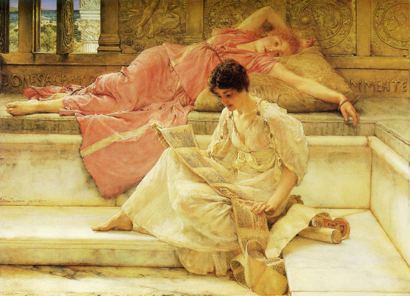 """Favourite Poet,1888,38.6 x 51.5 cm"" Sir Lawrence Alma-Tadema(8 January 1836 – 25 June 1912) was a Dutch painter of special British denizenship."