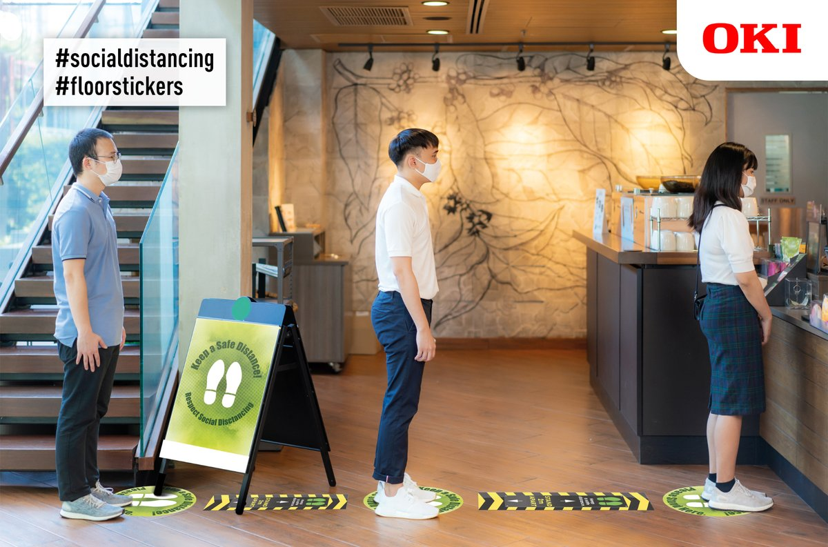 OKI Europe is helping to put restaurants, cafés and coffee shops back on the menu with free* #SocialDistancing #floorstickers to help protect chefs, baristas, waiters and customers: https://t.co/pvv7cKV1jX https://t.co/AdMMhgHgcW