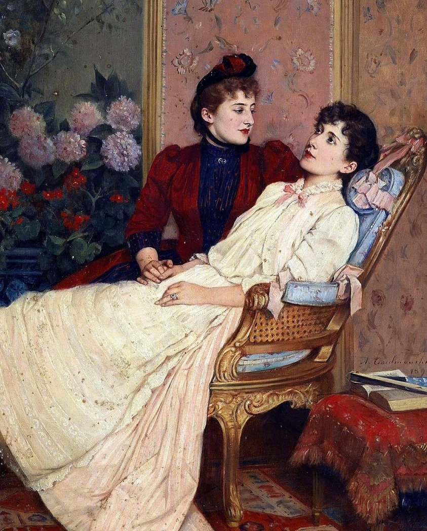 """The Daydreams, 1890"" Auguste Toulmouche (September 21, 1829 – October 16, 1890) was a French painter known for his luxurious portraits of Parisian women."