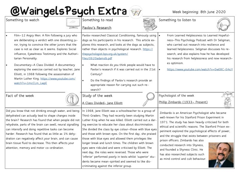 Thank you to @MissPsychW for putting together our extra psychology resource again this week!