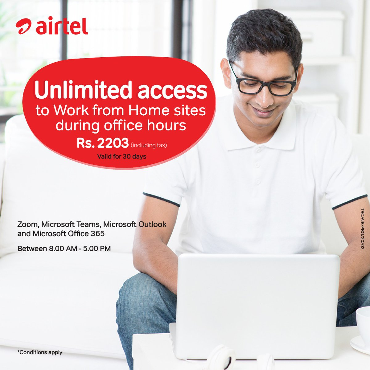 Get unlimited access to Zoom, Microsoft Teams,Microsoft Outlook & Microsoft Office 365 Working from Home sites between 8AM to 5PM (during office hours) everyday for 30 days just only for Rs.2203( incl of taxes)  Activate  https://t.co/KCQfOk39lq , Dial *550# or use My Airtel App https://t.co/TTs1Iyddwf