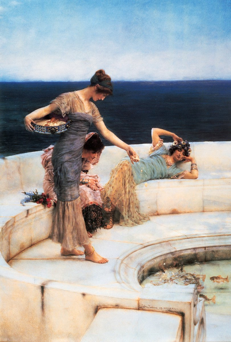 """Silver Favourites, 1903, oil on wood, 69.1 × 42.2 cm, Manchester Art Gallery. "" Sir Lawrence Alma-Tadema(8 January 1836 – 25 June 1912) was a Dutch painter of special British denizenship."