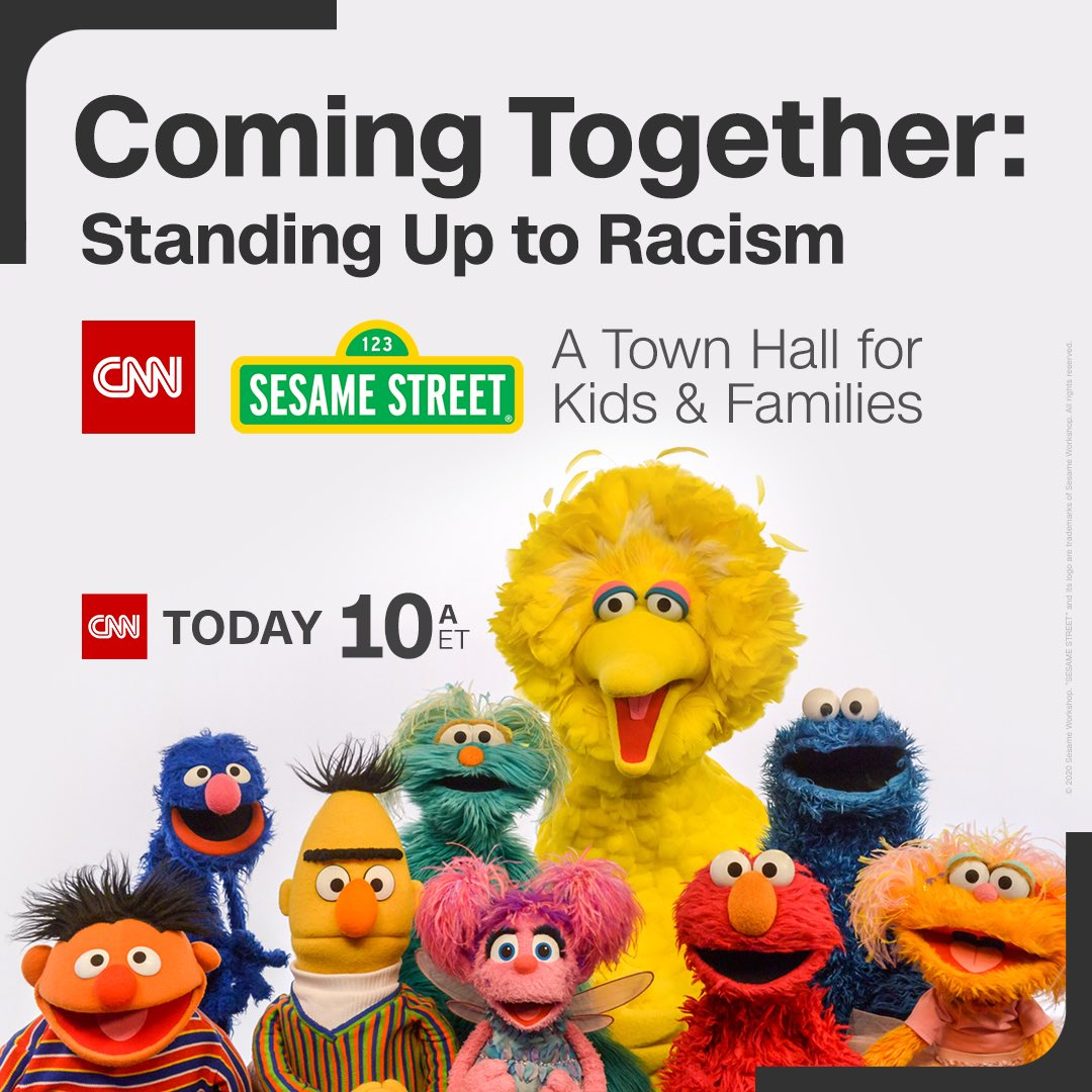 Struggling to find the right words when talking to kids about racism? #CNNSesameStreet town hall at 10a eastern time today. 6p UAE time. Join Us! https://t.co/C4YGs1wQtG