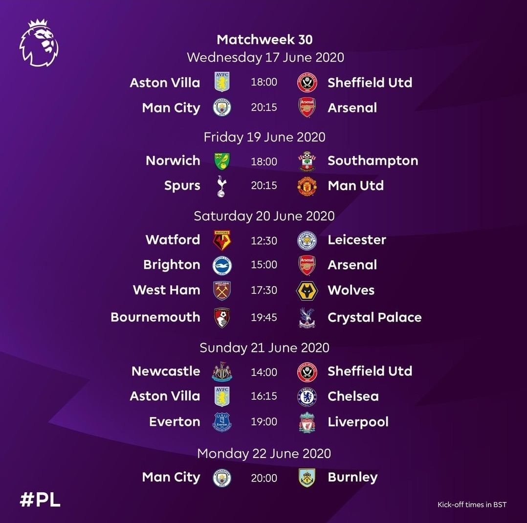 The fixtures for the resumed season 19/20. #PremierLeague pic.twitter.com/eJgH6AsixY