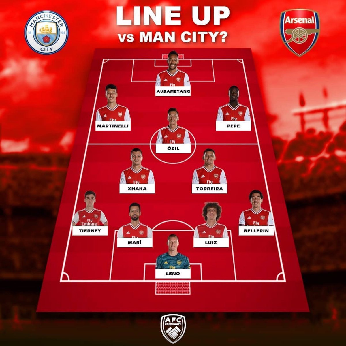 Line up vs Man City?!  Yes/No?   #Arsenal #ManCity #Football #PremierLeague pic.twitter.com/Lj8ErKwT2q