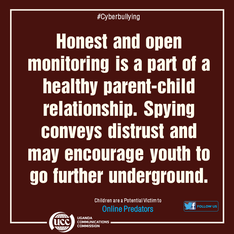 #StaySafeUG #KeepingChildrenSafeOnline Recommended; Educate kids about appropriate online behaviours just as we convey appropriate offline behaviours. Spying on kids & unnecessarily invading their privacy should only be as a last resort when there is significant cause for concern pic.twitter.com/oDYe3g7pHD