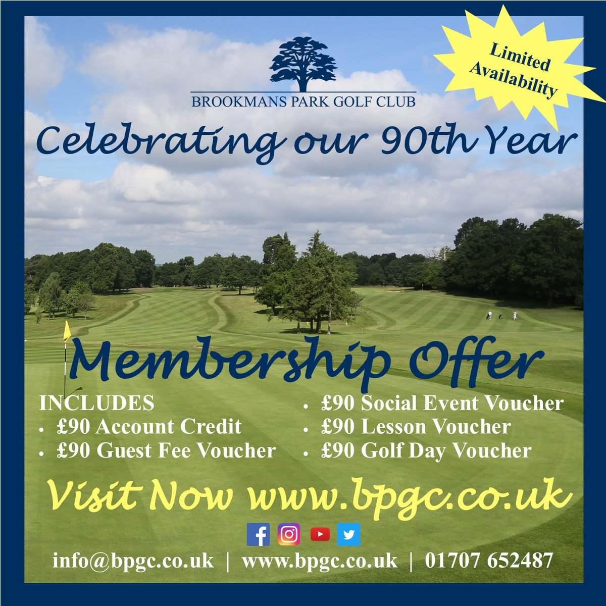 The best way to start the weekend is for you to get involved with our 90th year membership offer. For further details please visit https://www.bpgc.co.uk/ #brookmansparkgolfclub #golf #90thyear #golfingpic.twitter.com/5d8UoVJ1ni
