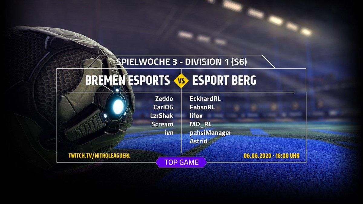 LIVE - DIVISION 1 - LIVE @bremen_esports vs @esportBERG  https://twitch.tv/nitroleaguerl    Livecast mit @IamMBenji, @ManuelWendel2 und @SchvennieRL  Jetzt einschalten und mitfiebern.  #rocketleague #twitch #Season6 #Castpic.twitter.com/hDGvNMEeZv