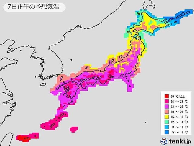 【熱中症に注意】来週前半は暑さ続く、35度近い所も関東甲信は、7日はいったん暑さが収まるが、8日から再び暑くなり、9日と10日はピークに。内陸部では猛暑日に迫る所もありそうです。