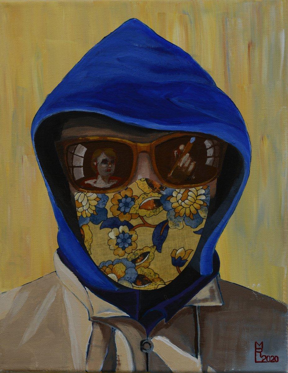 Maren R. Laughlin ()  Covid Portrait No. 12, 2020.  Mixed media: Acrylic on canvas, with fabric. 11 by 14 inches.  #covidportrait #painting #acrylicpainting #originalart #portrait #MarenRLaughlinpic.twitter.com/eWJ14LTpar