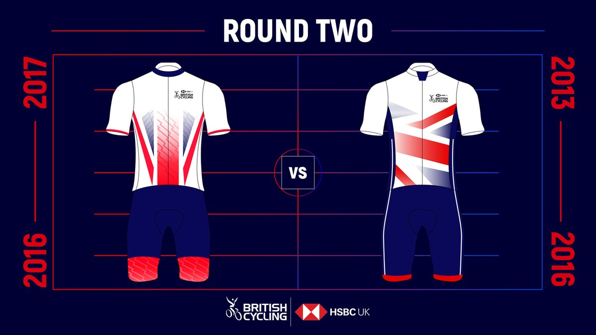 We're now into round two of the Great Britain Cycling Team kit battle, with three more head-to-head matches left 🤜🤛  First up, it's 2016-2017 vs 2013-2016 🇬🇧  This one might be close, choose your favourite with the poll in the reply ✅👇 https://t.co/qEKi9V6IrI