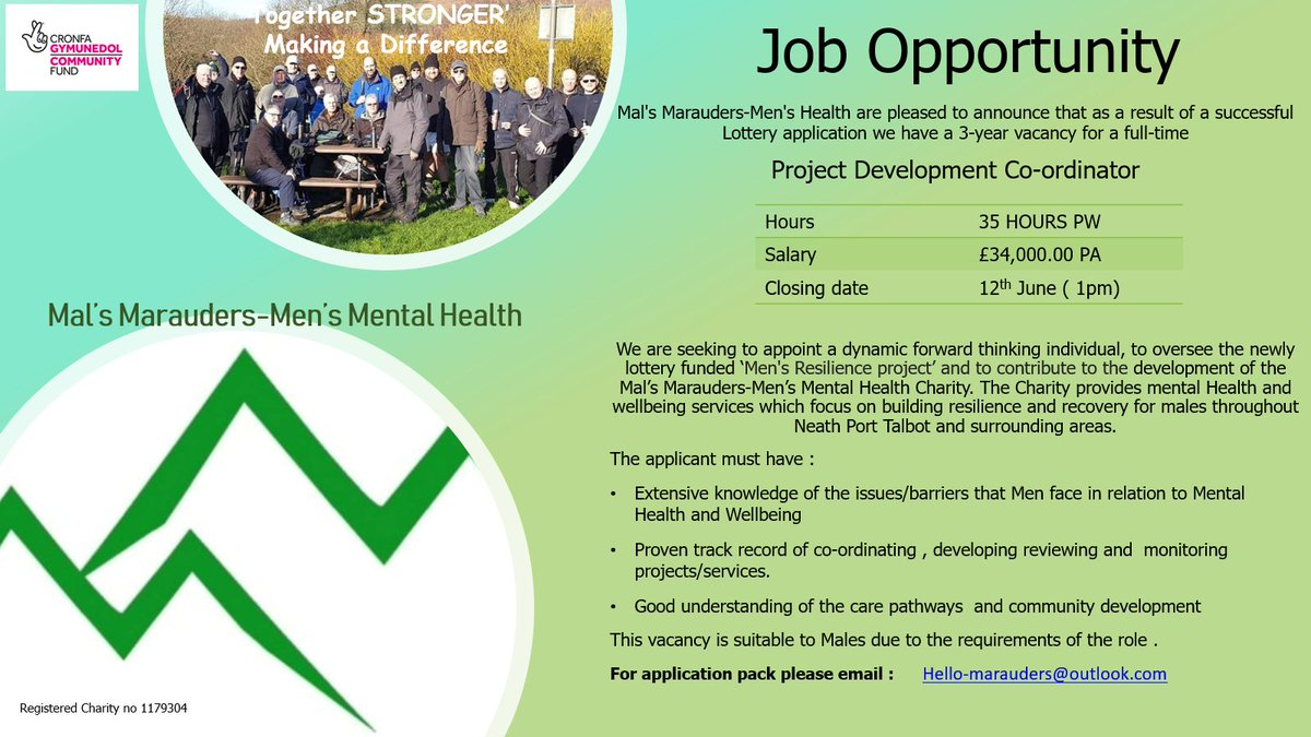 New job opportunity!🗣 Deadline for applications is on June 12th 2020 👇 nptcvs.wales/lottery-funded…