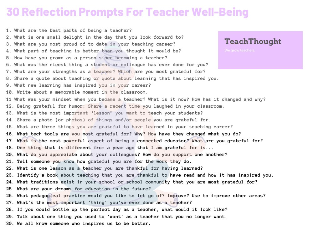 30 Reflection Prompts For Teacher Well-Being https://buff.ly/2Y3Xa19  What is one small delight in the day that you always look forward to?pic.twitter.com/yv3ThlkmX4