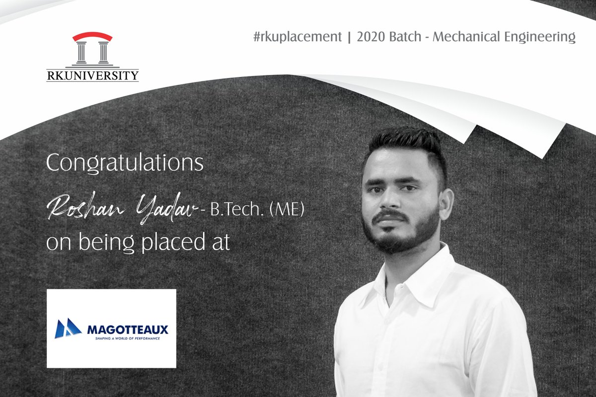 Congratulations to the students of #BTech #MechanicalEngineering from the School of #Engineering, #RKUniversity for getting placed at renowned companies. We wish them good luck for their bright future. #rku #placement #schoolofengineering #placement2020 #rajkot #gujarat #indiapic.twitter.com/WpNYNrdmvk