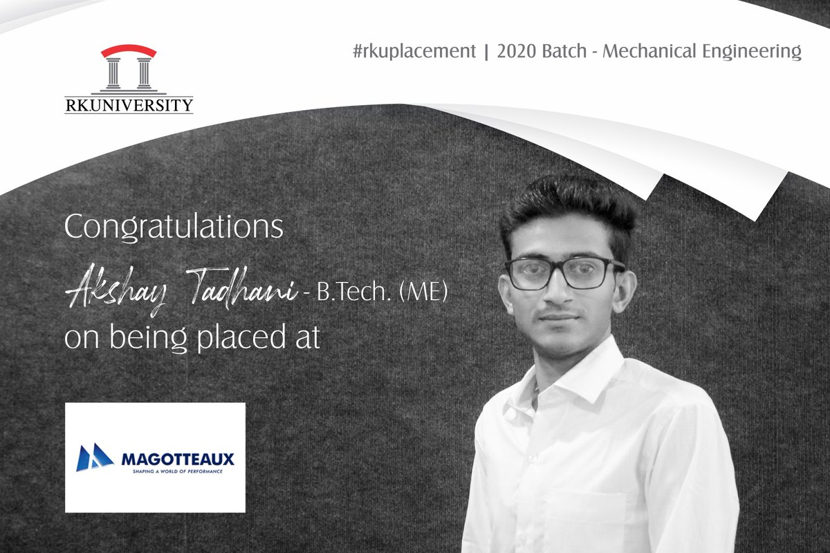 Congratulations to the students of #BTech #MechanicalEngineering from the School of #Engineering, #RKUniversity for getting placed at renowned companies. We wish them good luck for their bright future. #rku #placement #schoolofengineering #placement2020 #rajkot #gujarat #indiapic.twitter.com/5cwxK7EelD
