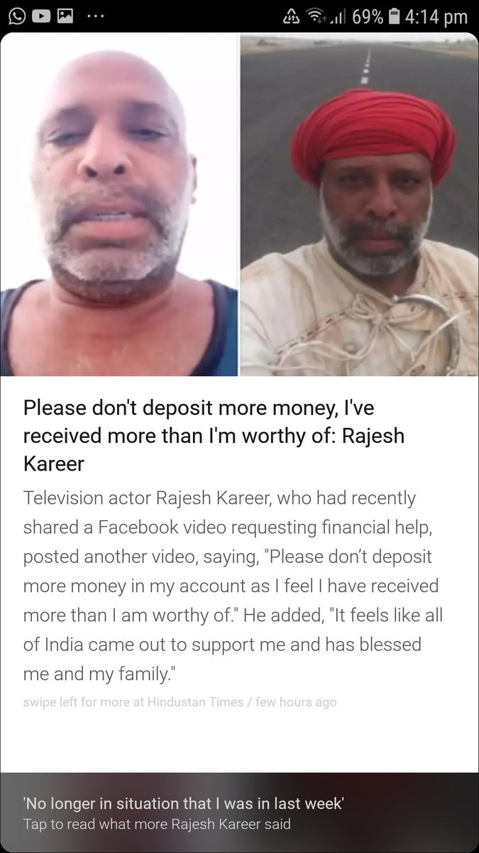 See this is an example of honest Indian Artist and generous public may I request millionaire film artist and Maharashtra Government to form a permanent artist relief fund to help such artists in distress most of whom fell shy in asking relief In Assam we have one under  EIMPA pic.twitter.com/R8YEelF4kX