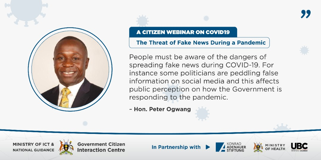 "@OgwangOgwang ""some politicians are peddling false information on social media and this affects public perception on how @GovUganda is responding to the pandemic""  #stopfakenews  @GCICUganda  @MoICT_Ug   #COVIDWebinarsUG pic.twitter.com/orV7HlAeEj"