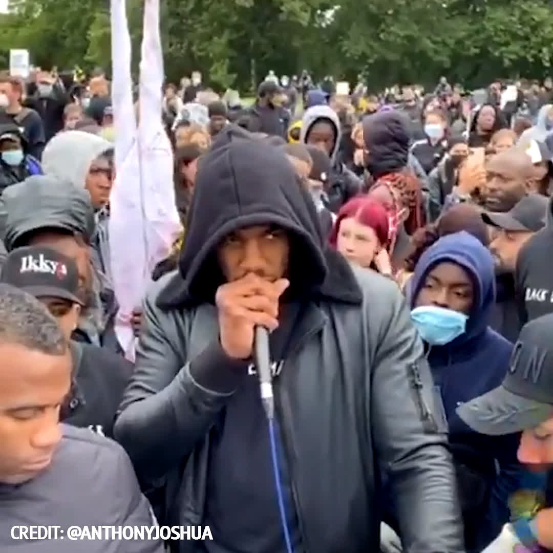 Anthony Joshua makes his voice heard at today's Black Lives Matter protests in Watford.