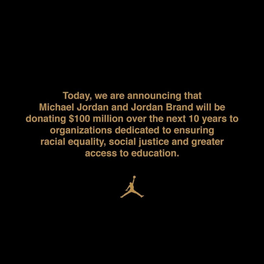 A multi-layered problem requires multi-layered solutions. Proud of Michael Jordan and the Jordan Brand for this big step that will have a long term impact in the fight to end racial inequality.