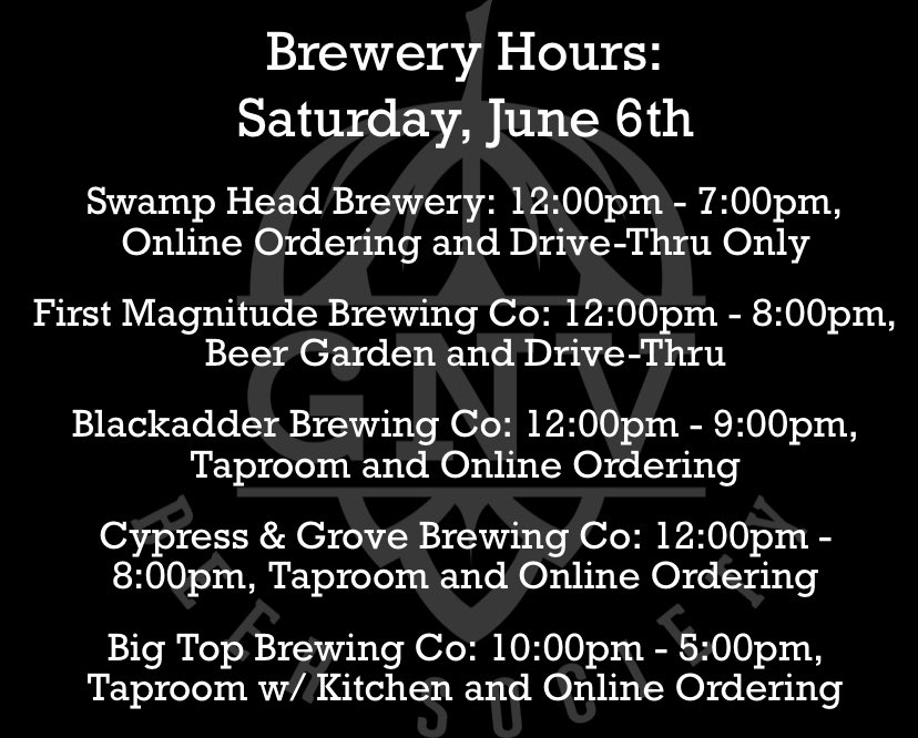 It may be a rainy day, but that doesn't mean you can't go out! 🌧 Here are today's hours! 🍻 #GNVBeer