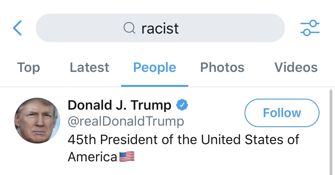 the top result for racist on Twitter is the president of the United States