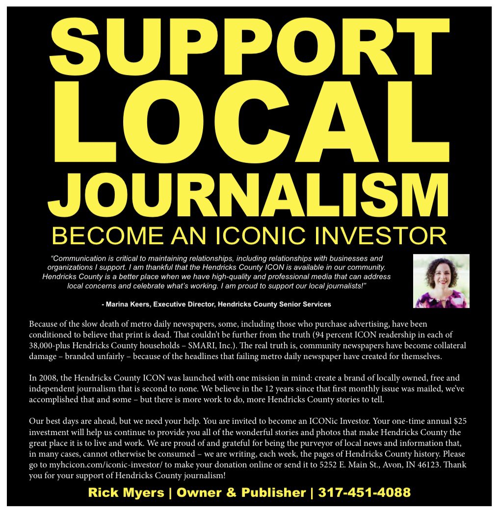 Support the Hendricks County ICON's mission of providing the community with its unique brand of independent, hyper-local news and information by making a voluntary-pay donation today.  Click: https://t.co/hLMfiOopIV  #SupportLocalJournalism #inHendricks #ALLinHendricksCounty https://t.co/AU7AwZORmj