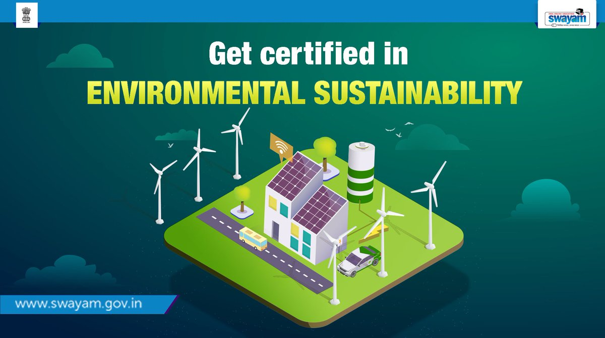 It's more important than ever to care about our environment and look at sustainability in human processes. The Certification Course in 'Environmental Sustainability' by IGNOU is the perfect way to gain awareness about it: swayam.gov.in/nd2_nou20_ag12… #SWAYAM #SwayamLearning