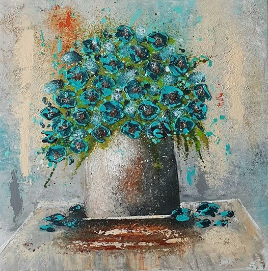 'Vase With Turquoise Flowers' by Cinzia Mancini #art pic.twitter.com/kWSUKBVoNg