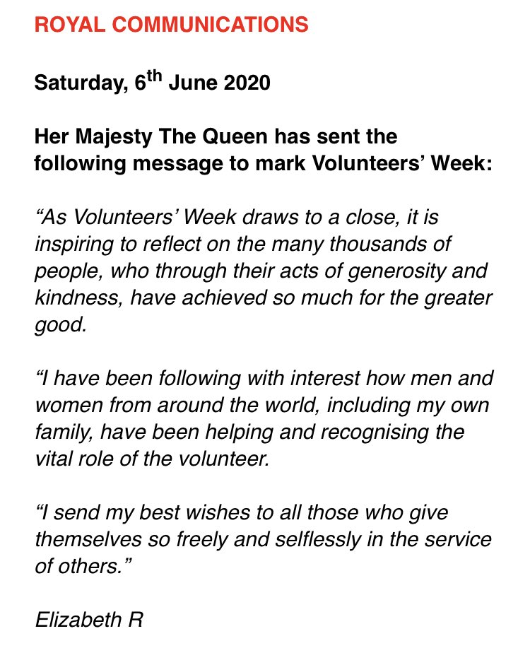 A message from The Queen at the end of #NationalVolunteersWeek to the army of volunteers who give back - both before, during and after the #coronavirus outbreak 👇