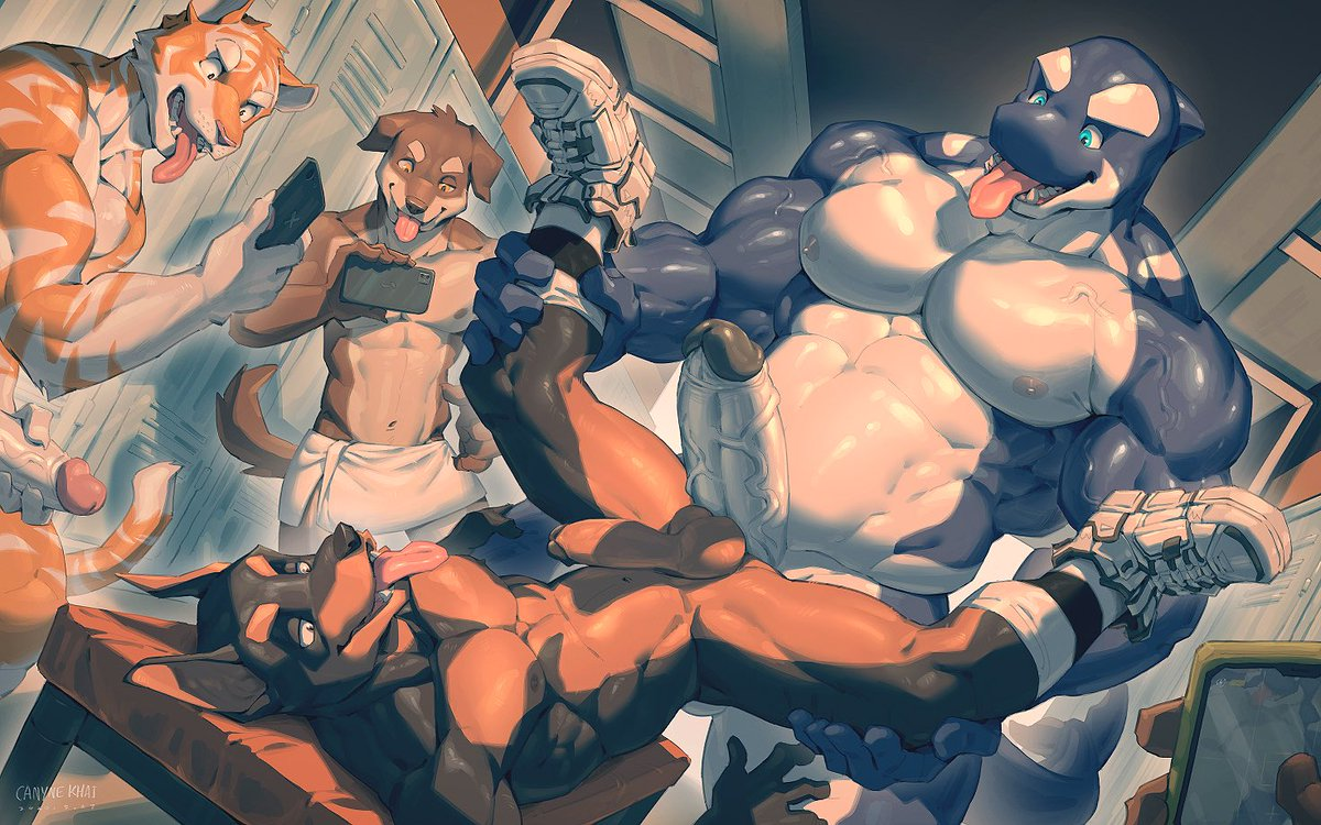 Locker room 3 Dog party🤤💦 You can purchase all versions from here! gumroad.com/canynekhai#vRn…